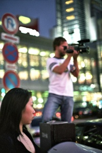 Photographer and Onna in the night